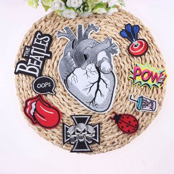 ca auguau 1Pcs Punk Rock Patch Badges For Clothes Embroidered Patches For Clothing