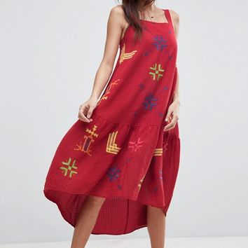 ASOS Aztec Embroidered Drop Waist Midi Dress at asos.com