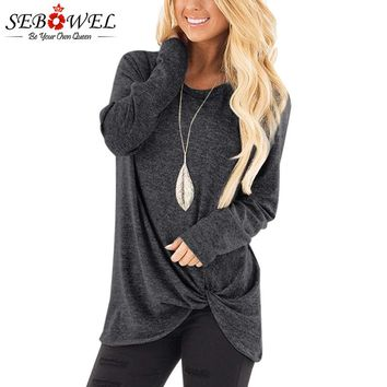 SEBOWEL Women Casual Long Sleeve T Shirt Plus Size 2018 Autumn Female T Shirt Tunic Top Twist Knotted Tshirt Lady Korean Clothes