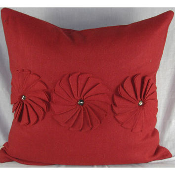 Design Accents SL 30168B - Poinsettia Red Red Poinsettia With Jewels Felt 20 x 20 Decorative Pillow