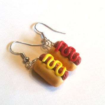 Hot Dog Dangle Earrings, Polymer Clay Food Jewelry