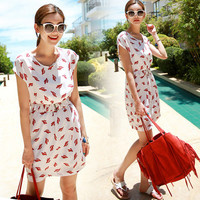 White Cactus Print with Elastic Waist Belt Mini Dress