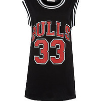 Cameo Rose Black Bulls Oversize Sports Vest