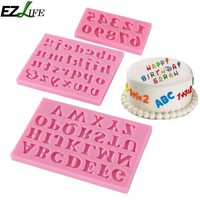 3pcs/set Pink Silicone Mold For Fondant Alphabet Figures Choacolate Cake Pastry Cake Decorating Tools Christmas Kitchen GF308