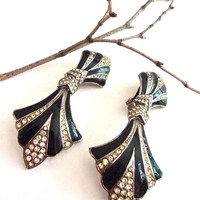Black Art Deco BIJOUX DESIGNS Earrings, Rhinestones & Enamel, Doorknocker Large Vintage