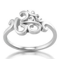 925 Sterling Silver Calligraphy Style Yoga, Aum, Om, Ohm, Sanskrit Ring, Size 7