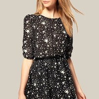 Black Galaxy Print Belt Half Sleeve Chiffon Dress