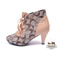 COACH Women Fashion Leather Short Boots Strappy Heels Shoes