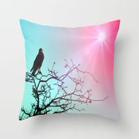 Hawk and the sun Throw Pillow by  Alexia Miles Photography