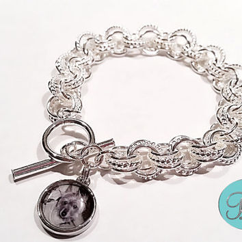 Photo Jewelry Charm Bracelet.Sterling Silver Photo link Bracelet with Photo Charm. In Memory Of Pet handmade jewelry