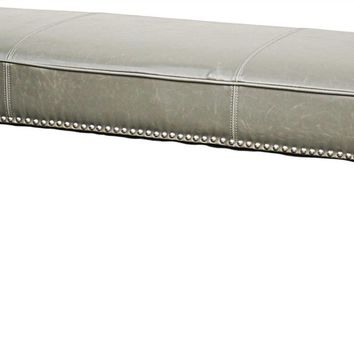 "Chloe Bonded Leather Bench 52"" Black Legs, Vintage Gray"