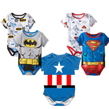 2016 Newborn Baby Boy Clothes Ropa Bebe Cotton Short Sleeve Superman Baby Rompers Baby Costume Batman Birthday Baby Body Clothes