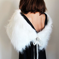 Off-White Faux Fur Shrug, Faux Fur Shawl, Fur Stole, wedding, Shrugs Boleros, Shoulder Wrap, Polyester faux fur, party, Christmas gift Women