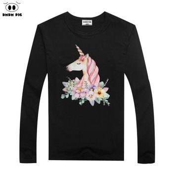 DMDM PIG Horse TShirt Kids Clothes Boys T-Shirts Unicorn Toddler Long Sleeve T Shirts For Girls Baby Tops Tees Size 6 7 8 Years