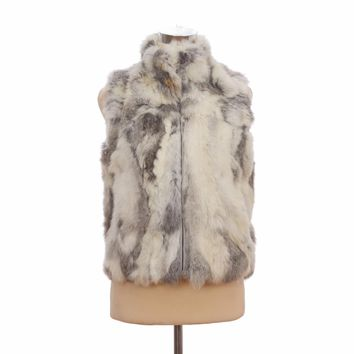 ZY88002 Autumn Lady Genuine Natural Spliced Rabbit Fur Vest Mandarin Collar Winter Women Fur Waistcoat Female Outerwear Coats