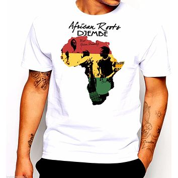Men Brand Famous Clothing Africa African Map Black History Rastafari Reggae urban T shirts Male Battery Funny Cotton Tops