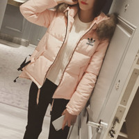 """Adidas"" Women Fashion Cardigan Fur Collar Hooded Long Sleeve Cotton-padded Clothes Jacket Down Coat"