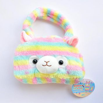 Cute Japan RAINBOW Alpacasso Plush Bags Soft Alpaca Plush hand bag Best Gifts for children Girls Women