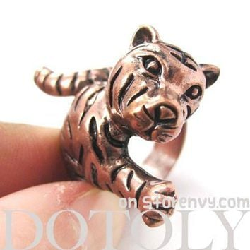 3D Tiger Shaped Animal Wrap Around Ring in Copper | US Size 7 - 9