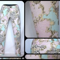 "PINK & MINT SCARF PRINT BAROQUE ""VERSAILLES"" PRINTED STILETTO JEAN POSH BOUTIQUE"