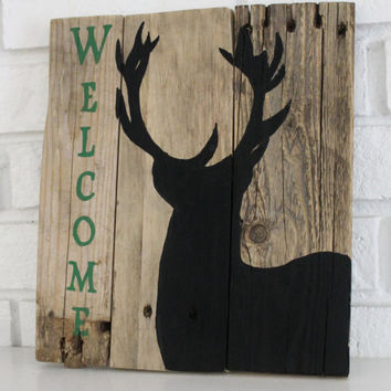 Welcome Big Buck Hunter Handmade Hand Painted Reclaimed Rustic Wood Sign
