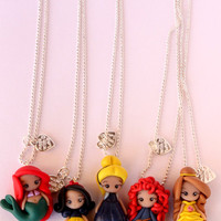 Disney Princess, Necklace, Disney Princesses Figurines, Handmade,Kawaii Polymer Clay