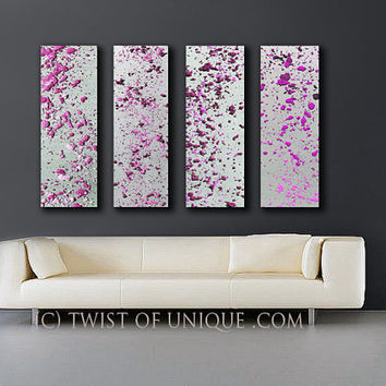 Radiant Orchid and Silver Abstract Paintings, 4 panel CUSTOM (40 Inches x 17 Inches) Melted Metal Wall Art, - silver, metal, fuschia, Purple