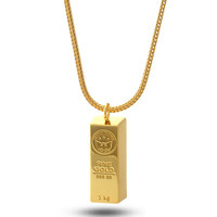 King Ice 14K Gold Bar Brick Necklace