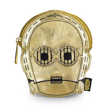 Star Wars Loungefly C-3PO Metallic Gold Faux Leather Face Coin Bag