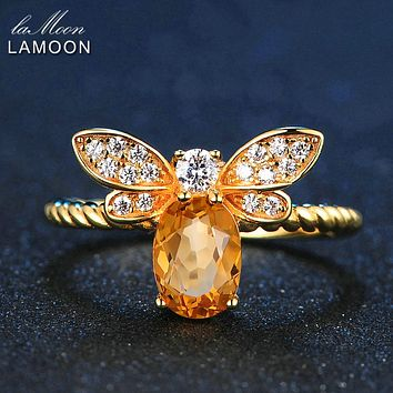 LAMOON 14K Gold Bee Rings for Women Natural Oval Citrine 925 Sterling Silver Fine Jewelry Party Fashion Accessories Anel LMRI019