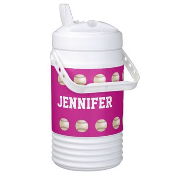 Personalized Beverage Cooler Baseball Hot Pink