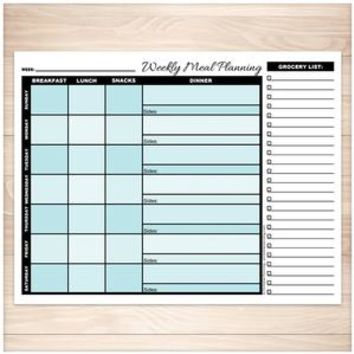 Turquoise Weekly Meal Planning Page with Grocery List - Printable