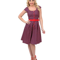 Navy & Red Butterfly Print Flare Dress