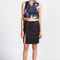 Faux Leather Side Zip Skirt