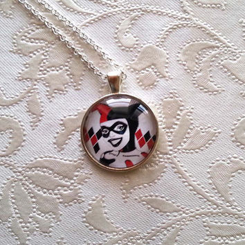 HARLEY QUINN  Necklace - Pendant - Silver Long Necklace Large pendant