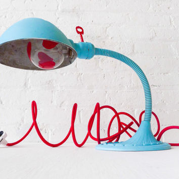 Baby Blue Alice - Vintage Gooseneck Table Lamp - Antique Cast Iron Bedroom Light - Hand-painted Heart Light Bulb - Industrial Kids