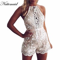 Sexy gold lace bodysuit Mesh jumpsuit Rompers halter neck outfits one piece bodysuits Overalls