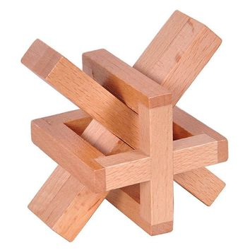Wooden Siege Lock the Perplexing X in a Box Logic Puzzle Burr Puzzles Brain Teaser Intellectual Toy