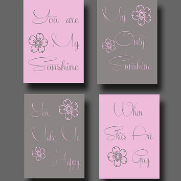 ON SALE You are my sunshine Set of 4 Print Home Decor Wall Art DS001-4