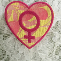 Pink Embroidered Female Venus Symbol Iron-On Sew-On Heart Patch on Floral Sparkle Fabric ~ Cute DIY Femme Feminist Riot Grrrl Punk Kawaii QT