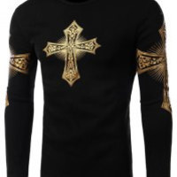 Black Cross Printed Long Sleeves T-Shirt