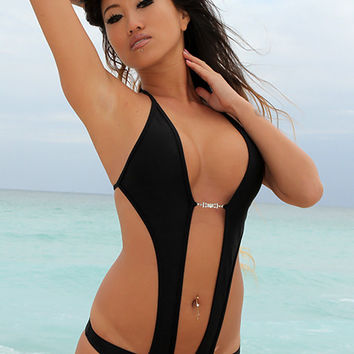 Sexy Keyhole Black Monokini With Rhinestone Closure