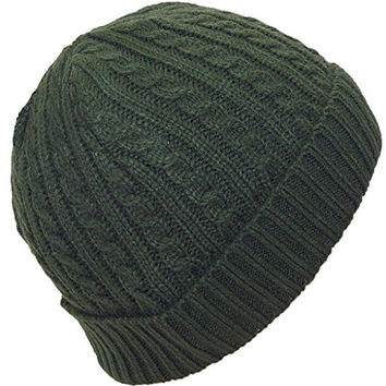 Angela & Williams Adult Tight Cable & Rib Knit Cuffed Winter Hat (One Size) - Olive