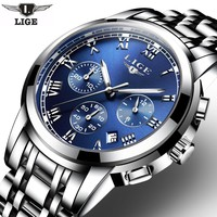 Men's Chronograph Sports Watches-Waterproof-All Steel Casual Quartz Watch
