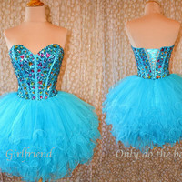Amazing Short Blue Prom Dress