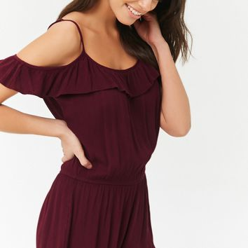 Ruffle Open-Shoulder Romper