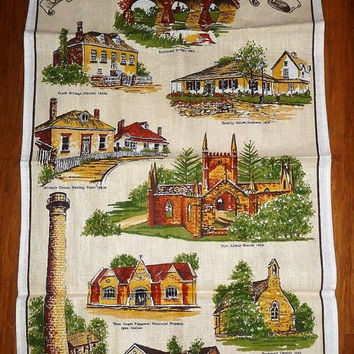 Vintage 1980s Historical Tasmania Linen Tea Towel / Retro Souvenir Tea Towel / Buildings in Tasmania