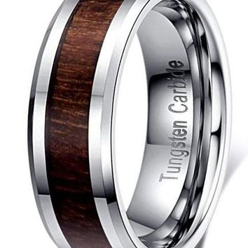 CERTIFIED 6mm Silver Tungsten Carbide Wood Inlay  Vintage Wedding Ring