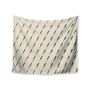 "Nika Martinez ""Glitter Diagonals in Gold"" Tan Wall Tapestry"