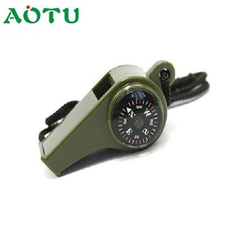 2018 Camping Hiking Emergency Whistle Compass Thermometer Emergency Survival Whistle Keychain Safety Outdoor Accessories Mar30YP